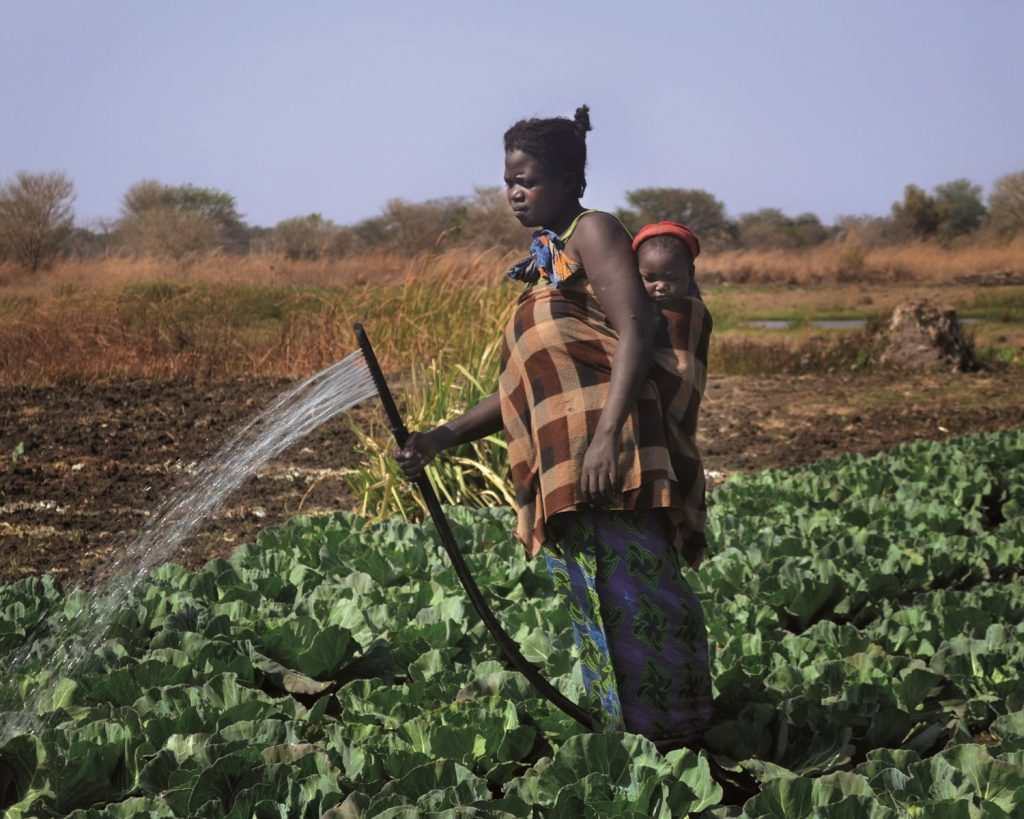African Mother and Child Watering Crops